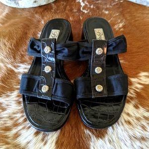 Vtg Brighton Nylon & Leather Slide Sandals Mules
